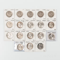 Group of Mostly Walking Liberty and Franklin Half Dollars
