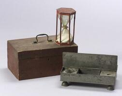 Red Painted Box, Hour Glass, and Pewter Inkstand