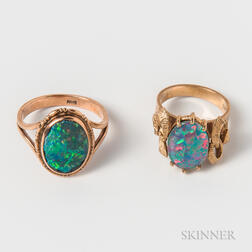 Two 9kt Gold and Opal Doublet Rings