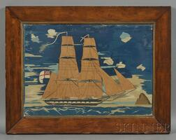 British Sailor's Wool Needlework Picture of a Sailing Ship