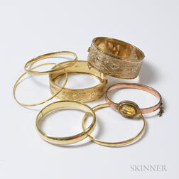 Group of Gold and Gold-filled Bangles