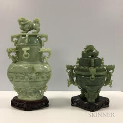 Two Hardstone Covered Vases