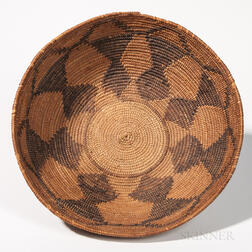 Large Washoe Polychrome Basketry Bowl
