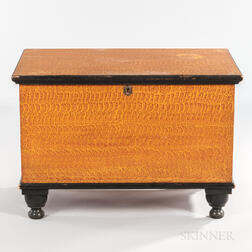 Mustard and Orange Putty-painted Six-board Chest