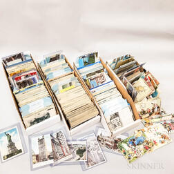 Large Group of Mostly American Hand-colored and Black and White Postcards and Stamps