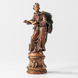 Carved Wood and Polychrome Gesso Figure of a Saint