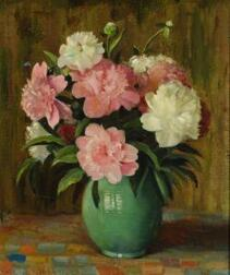 William Woelfle (American, 20th Century)      Still Life with Pink and White Peonies.