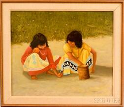 American School, 20th Century      Two Native American Children Playing in the Sand