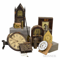 Group of Clock Parts, Movements, Dials, and Cases