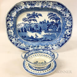 Blue and White Transfer-decorated Ceramic Basket, Undertray, and Platter