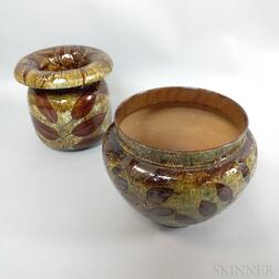 "Two Doulton Lambeth Stoneware ""Leaf"" Vases"