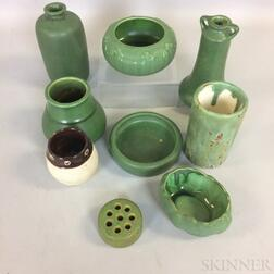 Nine Hampshire Pottery Mostly Matte Green-glazed Items