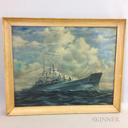 American School, 20th Century    Portrait of a Naval Vessel