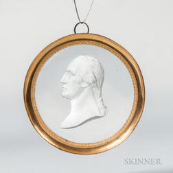 Framed Sulphide and Glass George Washington Medallion