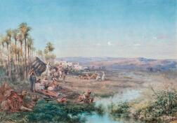 Paul B. Pascal (French, 1832-1903)      Orientalist Landscape with Figures near an Oasis