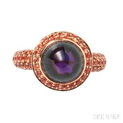 18kt Gold, Amethyst, and Orange Sapphire Ring