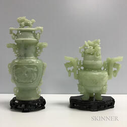 Two Hardstone Covered Vessels