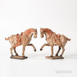 Pair of Caparisoned Pottery Horses