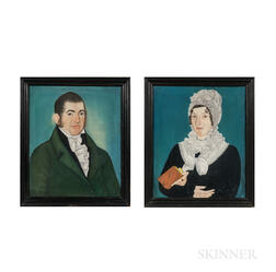 Micah Williams (New Jersey, 1782-1837)      Portraits of a Stylish Lady and Gentleman