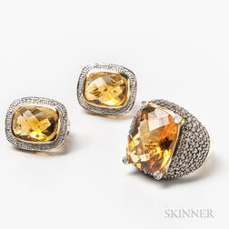 14kt Gold, Citrine, and Diamond Ring and a Pair of Earrings