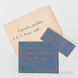 Printed President Andrew Johnson Impeachment Ticket
