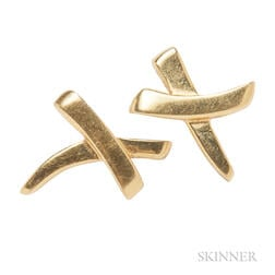 "18kt Gold ""X"" Pin and Earrings, Paloma Picasso, Tiffany & Co."