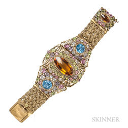 Vintage Gold-plated Filigree and Colored Glass Bracelet, Attributed to Hobe