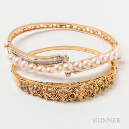 18kt Gold Gem-set Hinged Bangle and 14kt Gold, Cultured Pearl, and Diamond Hinged Bangle