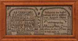 Needlework Sampler from the Providence Juvenile Academy