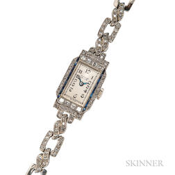 Art Deco Platinum and Diamond Wristwatch, Gubelin