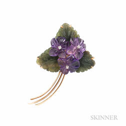 14kt Gold Gem-set Violets Brooch