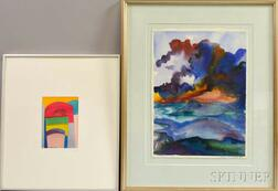 Two Framed Watercolors:      Terri Priest (American, 1928-2014), Red Arch