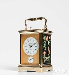 Tiffany & Co. Gilt and Porcelain Panel Hour-repeating Carriage Clock