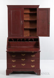 Red-painted Desk/Bookcase