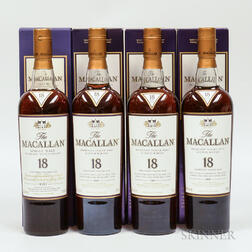 Macallan 18 Years Old Vertical Set, 4 750ml bottles (oc)
