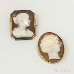 Two 14kt Gold Shell Cameo Brooches