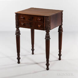 Late Federal Carved Mahogany and Mahogany Veneer Two-drawer Worktable