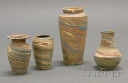 Four Niloak Pottery Vases