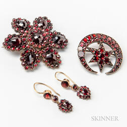 Two Garnet Brooches and Pair of Earrings.     Estimate $200-300