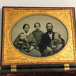 Half Plate Ambrotype Portrait of a Family in a Union Case with Farmstead.     Estimate $150-250