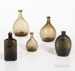 Three Blown Chestnut Bottles and Two Flasks