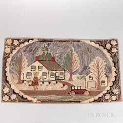 Hooked Rug with Little Girl and House Scene
