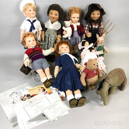 Ten R. John Wright Felt Dolls and Animals