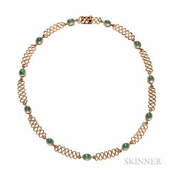 18kt Gold and Emerald Necklace