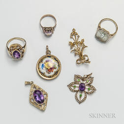 Three Gem-set Rings and Four Pendants