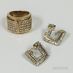 14kt Gold and Diamond Ring and a Pair of Geometric Earrings