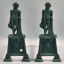 Pair of Cast Iron George Washington Figural Andirons