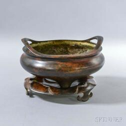 Large Bronze Censer with Lotus Stand