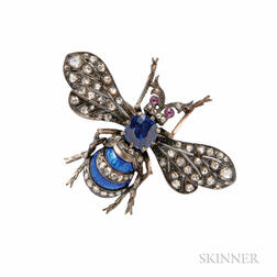 Sapphire and Diamond Insect Brooch
