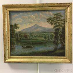 American School, 19th Century      Mountain Landscape with Riverboat